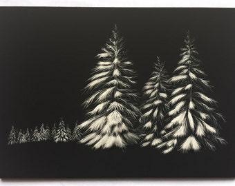 Framed Winter Pines Scratchboard Art