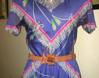 Vintage Italian trompe l'oeil design dress.