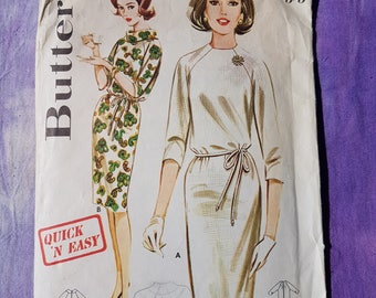 """Butterick 2907  Shift Dress 60's Vintage Sewing Pattern In a Rare Size 16 Bust 36"""""""