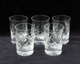 Five vintage whisky tumblers or glasses (Ref: 3681)