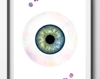 Eye watercolor print anatomy Optometry art bulbus oculi poster human eye ophthalmology iris and globe print medical art eyeball art print