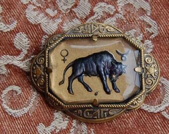 Vintage 1930s Art Deco Gold Tone Taurus Pin MTVADGTTP