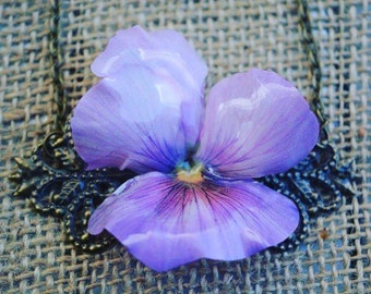 "Necklace ""Pansy,"" Pansy flower necklace"