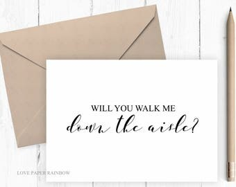 will you walk me down the aisle card, will you give me away