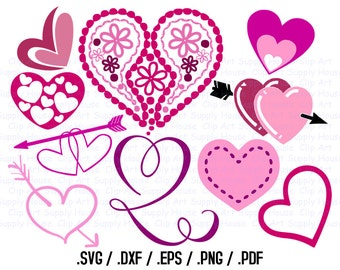 Valentine Day SVG Clipart, SVG Office Wall Art, DXF Holiday File, Vinyl Cutters, Screen Printing, Silhouette, Vinyl Cutting Clipart - CA410