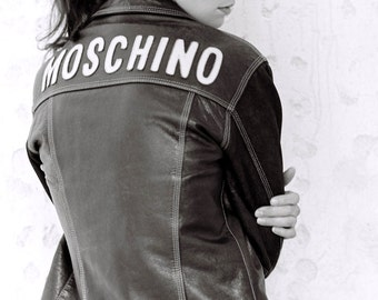 Vintage Moschino Leather and Denim Jacket