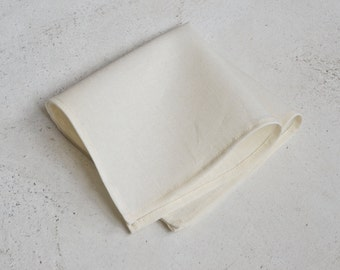 Ivory Cream Linen Pocket Square