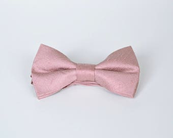 Dusty Pink Raw Silk Pre-Tied Bow Ties