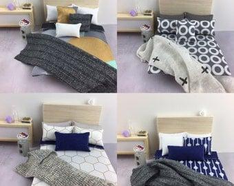 Miniature 1:12 scale dollhouse bedding set ON SALE