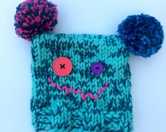 Green, Blue and Pink Toddler Monster Hat