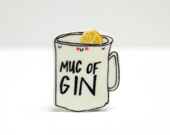 Mug of Gin pin badge