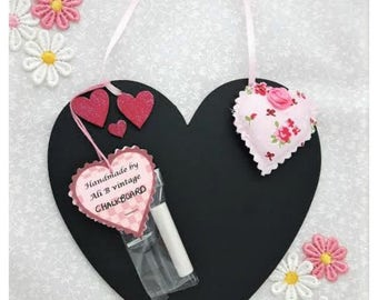 Chalkboard heart design kitchen memo heart shape new home gift present mothers day fabric heart blackboard  board handmade wedding gift
