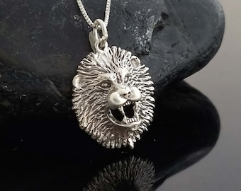 Sterling Silver Lion Head Necklace, Silver Lion Necklace, Sterling Silver Oxidized Lion Necklace, Silver Men's Necklace, Animal Jewelry