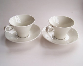 "Ben Siebel - Two Cup and Saucer Sets  – Iroquois Fine China Company ""Impromptu Pattern"" ca. 1956 - Mid Century Modern - Designer Drinkware"