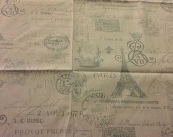 Fabric - Large Remnant - Upholstery, Drapery, Craft, Sewing - Paris Travel French Postal -  Pale Pink Gray
