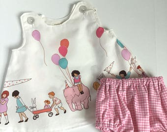 Sarah Jane for Michael Miller fabrics Children at Play on Parade -pinafore and bloomer set -birthday - baby girl -toddler l -pink gingham