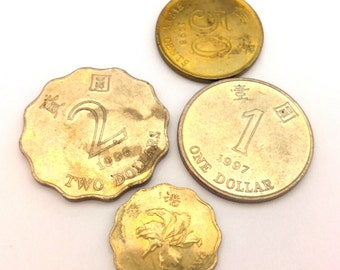Vintage 90s Hong Kong Coin Dollar Cents Set 4 Pcs