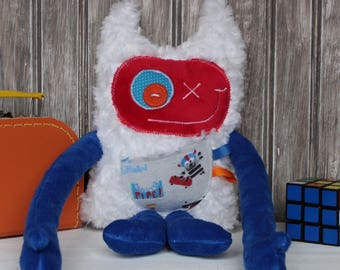 Hug Monster with ears/horns for boys, handmade plush, dark blue and red with skateboard pocket, stuffed toys, unique gift, ready to go