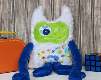 Handmade plush toy Monstre à Câlins, dark blue and lime green with bugs print,friendly monster for child,unique  birthday gift, ready to go