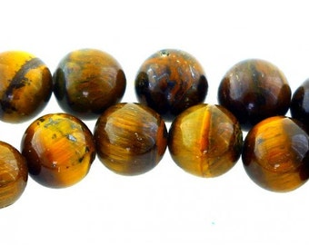 Wire of 44 pearls round 8mm 8 mm Brown Tiger eye natural