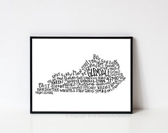 Hand lettered GLENDALE Kentucky Word Art Print // 8x10