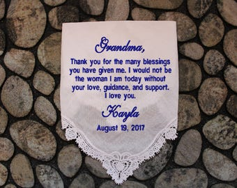 Grandmother of the Bride wedding handkerchief, hanky, hankie,EMBROIDERED, personalized Wedding Gift for Grandma. LS11