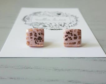 Polymer clay earrings/ pink and copper clay stud earrings/ polymer clay jewellery/ copper/ polymer clay/ clay jewellery/ square earrings