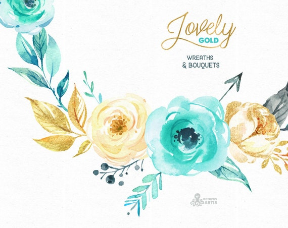 Lovely Flowers Gold Wreaths And Bouquets Watercolor