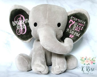 New baby gift etsy birth announcement elephant birth stat elephant keepsake elephant baby keepsake new baby negle Gallery