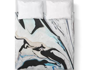 Marble Black White Blue Duvet Cover/ Comforter cover/ 3 sizes available, king, queen, twin /bedding/modern comforter cover