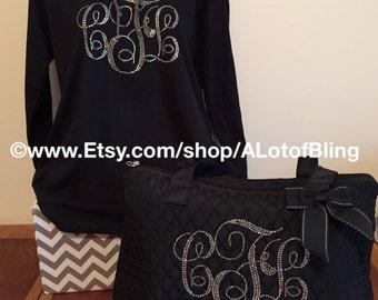 Monogram Rhinestone Shirt and Bag set -Save 10