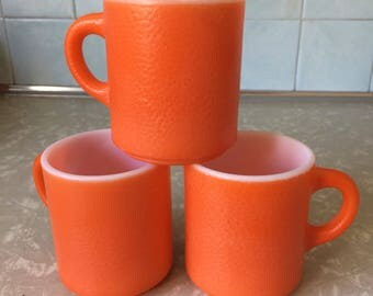 Orange Peel Milk Glass Mugs Set of 3 - Orangepeel Textured - Texture - Coffee Cup
