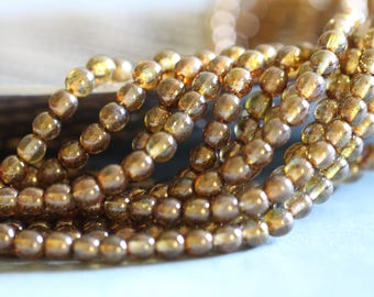6mm (50) Druk, Smooth, Round GOLD SMOKY TOPAZ, Czech, Glass, Beads, Full Strand, 11 inches, 50 Pieces