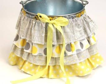 Ruffle Bucket Skirt Photography Prop Yellow/Gray