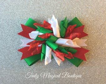Christmas Hair Bow | Holiday Hair Bow | Christmas Korker Bow | Christmas Hair Bows | Christmas Hair Clip | Holiday Hair Clip | Christmas Bow
