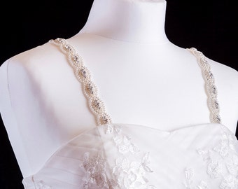 Pearl And Diamante Attachable Bridal Straps - Made To Measure - ISLA
