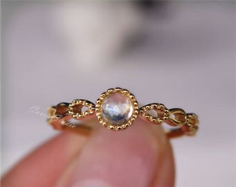 14K Yellow Gold Moonstone Ring/ Moonstone Silver Riong Engagement/Wedding Ring Silver Ring Birthday Present