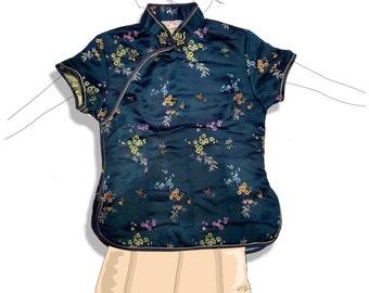 Satin oriental mandarin collar brocade cheongsam shirt