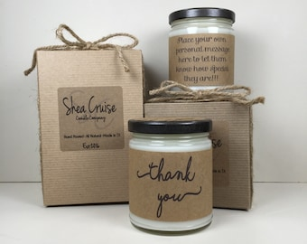 Thank You Candle// Love Quote Gifts // Add Personalized Message // Gift