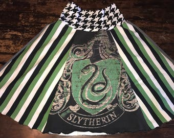 Skirt made from Upcycled T-Shirts - Harry Potter Slytherin - One of a Kind