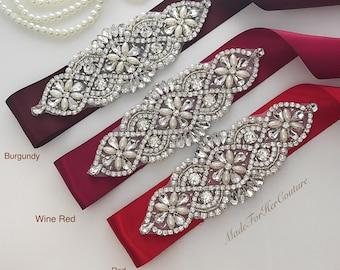Red Wedding Sash Belt,  Burgundy bridal sash, Rhinestone belt/sash, burgundy wedding belt, Red Wedding belt,Burgundy Wedding Sash, wine sash