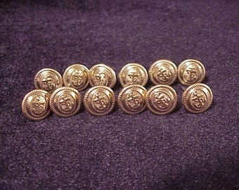 Lot of 12 Vintage US Coast Guard Gold Tone  Anchor Design Uniform Buttons, Tab Connector, Cufflink Making, Materials, Sewing, Old