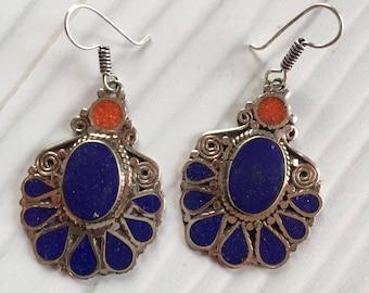 Blue ethnic earrings, long blue earrings, blue flower earrings, Nepali blue earrings, Lapis ethnic earrings, long stone earrings