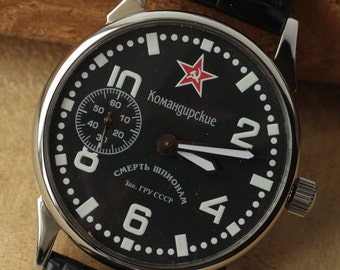 Mens Wrist Watch Massive Сase Star of USSR Komandirskie Call. 3602