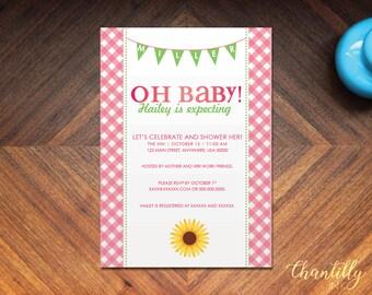 Gingham Sunflower Baby Shower Invitation *Digital Download*