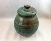 Stoneware pottery sugar bowl, small jar/ canister, matte green, black, brown, and blue glaze (holds 14 oz), green sugar bowl, green jar