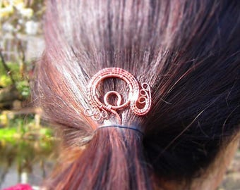 Copper wire hairpin - Wire Wrapping - hair styling accessory
