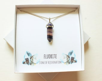 Fluorite Gemstone Necklace, Fluorite Necklace, Crystal Point Necklace, Rainbow Fluorite, Strength Necklace, Healthy, Fluorite Crsytal