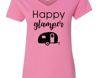 Happy Glamper Camping RV Womens Short Sleeve V Neck T - Shirt Top