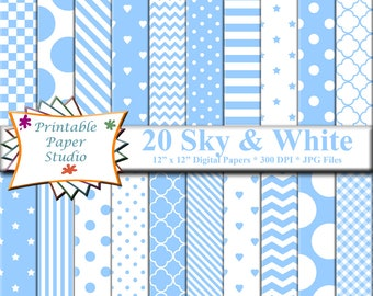 Sky Blue Digital Paper Pack, Light Blue Paper for Cardmaking, Blue Patterned Paper Instant Download Digital File, Blue Colored Paper